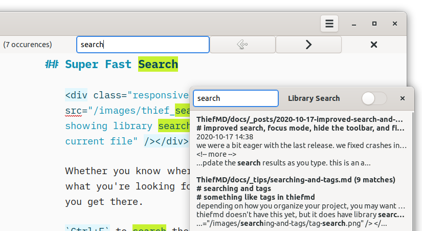ThiefMD showing library search and highlighting in current file