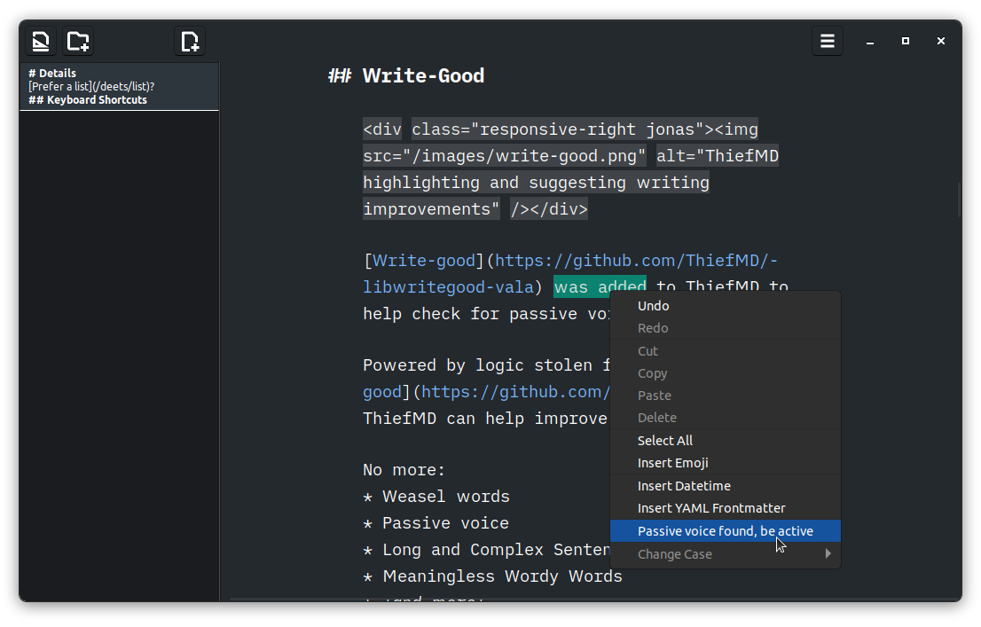 ThiefMD highlighting and suggesting writing improvements